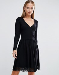 Asos Wrap Dress With Lace Hem Black