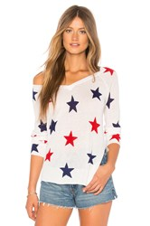 Central Park West Red Rock Linen Star Sweater White