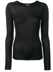 Vince Slinky Ribbed Crew Top Black