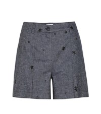 Tomas Maier Embroidered Denim Shorts Blue