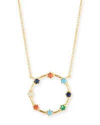 Tai Rainbow Crystal Open Circle Necklace Gold
