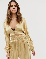 Lioness Plunge Front Wrap Top Co Ord In Gold