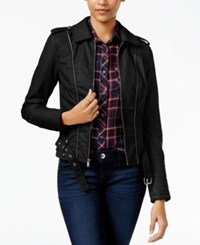 Celebrity Pink Faux Leather Zipper Trim Jacket Jet Black