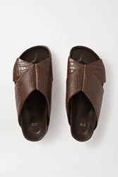 Co Croc Effect Leather Slides Brown