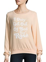Wildfox Couture I Only Get Up For Long Sleeve Pullover Peach Fuzz