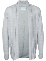 Estnation Long Open Cardigan Men Linen Flax M Grey