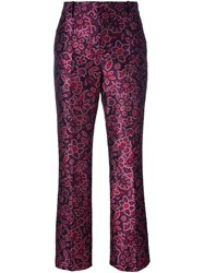 Lanvin Jacquard Brocade Trousers Pink And Purple
