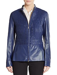 Escada Woven Leather Jacket Blue