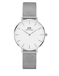 Daniel Wellington Classic Petite Stainless Steel Sterling White Dial Mesh Strap Watch Silver