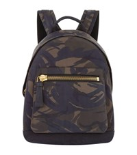 Tom Ford Buckley Suede Camouflage Print Backpack Green