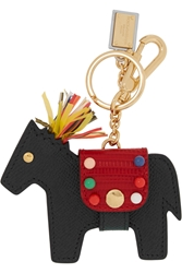 Dolce And Gabbana Textured Leather Horse Keychain