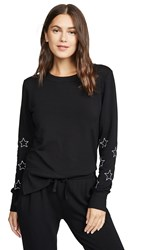 Chrldr Stitched Stars High Slit Sweatshirt Black