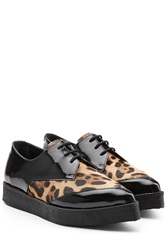 Pierre Hardy Patent Leather Lace Ups With Leopard Print Pony Hair Multicolor