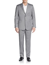 Saks Fifth Avenue Regular Fit Tonal Striped Wool And Silk Suit Grey