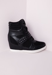 Missguided Embossed Strap Hidden Wedge High Top Black Black