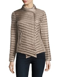 Michael Michael Kors Asymmetrical Quilted Packable Coat Taupe