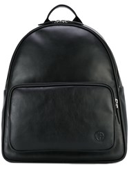 Giorgio Armani Logo Patch Backpack Men Calf Leather One Size Black
