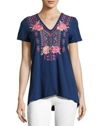 Johnny Was Floral Embroidered Drape Back Tee Navy
