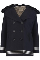 Sea Double Breasted Shearling Paneled Wool Blend Twill Coat Midnight Blue