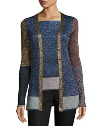 Christopher Kane Metallic Colorblock Knit Cardigan Multi