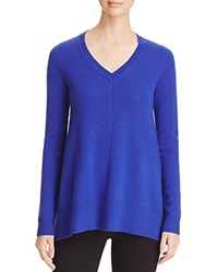 Bloomingdale's C By Arched Hem Cashmere Sweater Cobalt