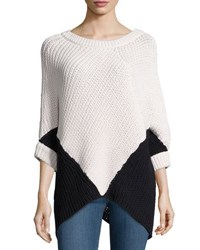Minnie Rose Colorblock Poncho Sweater White Blac