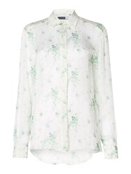Sportmax Code Longsleeve Silk Shirt With Floral Print White