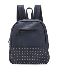 Neiman Marcus Classic Studded Faux Leather Backpack Navy