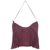 East Leather Fringed Hobo Bag Red