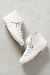 Anthropologie Superga Leather High Top Sneakers White