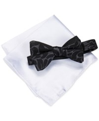 Alfani Men's Walsh Abstract Bow Tie And Pocket Square Set Only At Macy's Black