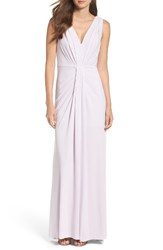 Vera Wang Women's Jersey Pleated Fit And Flare Gown Pale Lilac
