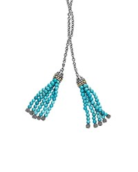 Lagos 18K Gold And Sterling Silver Lariat Necklace With Turquoise Tassels 42 Blue Silver