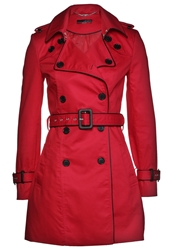 La City Trenchcoat Rouge Et Noir Red