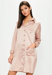 Missguided Tall Exclusive Pink Satin Shirt Dress Taupe