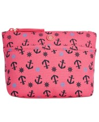 Tommy Hilfiger Canvas Print Cosmetics Case Med Pink