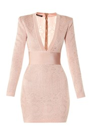 Balmain V Neck Lace Knit Dress Light Pink