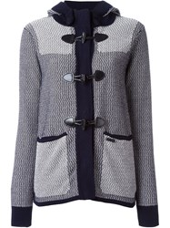 Bark Knit Hooded Short Coat Blue