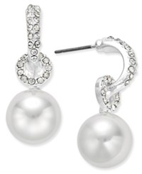 Inc International Concepts Silver Tone Imitation Pearl And Pave Drop Earrings Only At Macy's