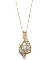 Macy's Diamond Ribbon Pendant Necklace In 14K Gold 3 8 Ct. T.W.
