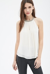 Forever 21 Beaded Chiffon Halter Top Cream
