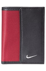 Nike Men's Leather And Tech Twill Money Clip Card Case Red Red Black