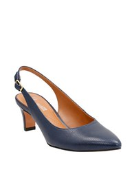Clarks Leather Point Toe Slingback Shoes Navy Blue