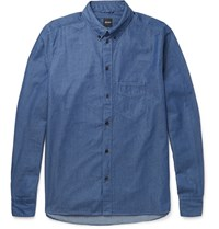 Albam Button Down Collar Cotton Shirt Blue