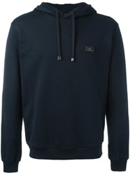 Dolce And Gabbana Logo Plaque Hoodie Blue