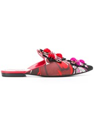Emilio Pucci Printed Embellished Slippers Silk Leather Red