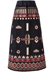 Vilshenko Ethnic Embroidery Mid Skirt Black