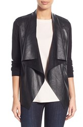 Women's Michael Michael Kors Faux Leather And Knit Drape Front Cardigan Black