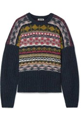 Jason Wu Fair Isle Merino Wool Blend Sweater Black