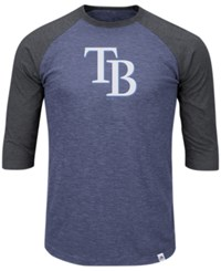 Majestic Men's Tampa Bay Rays Grueling Raglan T Shirt Darkblue Charcoal